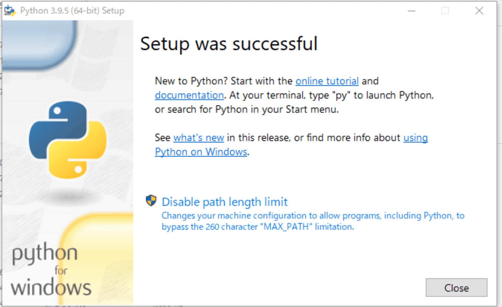 pythonのインストール完了画面